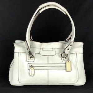 COACH F14686 Penelope Cream White Pebbled Leather